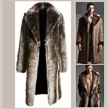 Men's 2 in 1 Warm Full Pelt Long Luxury Mink Faux Fur Soft Leather Trench Coat image 3