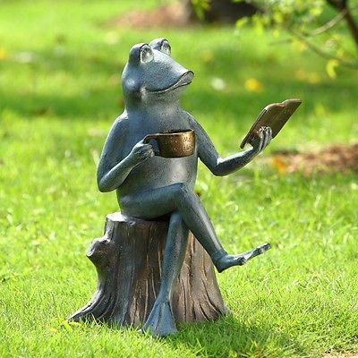 Adorable whimsical joy of reading frog garden sculpture for Whimsical garden statues