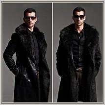 Men's 2 in 1 Warm Full Pelt Long Luxury Mink Faux Fur Soft Leather Trench Coat image 5