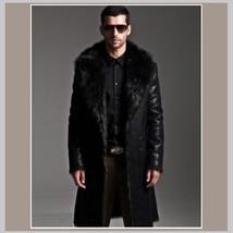 Men's 2 in 1 Warm Full Pelt Long Luxury Mink Faux Fur Soft Leather Trench Coat image 6