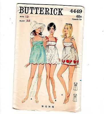 1960s Beachdress Swim Mini Dress Pattern Butterick #4449 Factory Folded Uncut 12