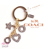 Coach Open Pave Heart Star Mix Key Ring FOB Cha... - $58.00