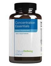 Natural Wellbeing Concentration Essentials 90 Veg Capsules - $49.57
