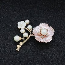 White Pollen Flower Pearl Brooch Pin for Womens Pink Shell Flower Pearl Brooches - $19.59