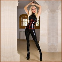 Red Trim Black Wet Look Stretch Faux Leather Zip Front 2 Back Sleeveless Catsuit