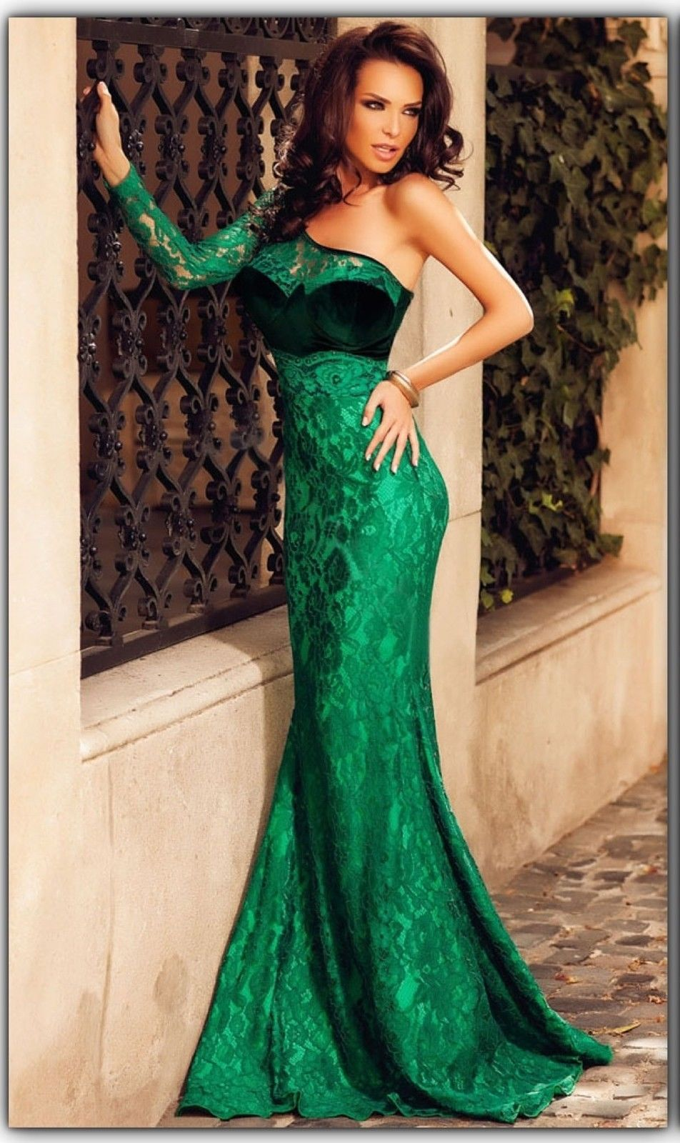 New green velvet lace bridesmaid formal gown ball party for Velvet and lace wedding dresses