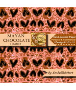 Hand-painted Paper 8 1/2 x 11 Jpeg 1 Design Hearts Pink Brown Black - $1.95