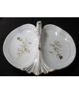 C. TIELSCH Antique Divided Dish with Handle White Gold Flora - $51.00