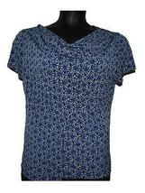 George Blue White Mandala Print Drape Neck Short Sleeve Knit Shirt sz L ... - $14.84