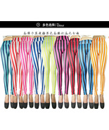 Red and White Vertical Stripes Srripe Mime Spandex Leggings Candy Cane C... - $7.50