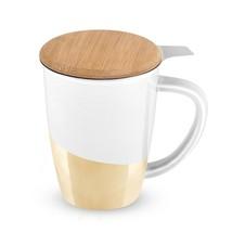 Tea Mug, Bailey Gold Dipped Ceramic Insulated Cute Novelty Tea Infuser Mug