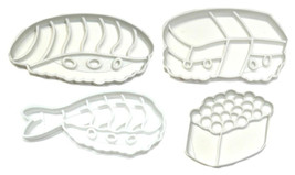 Sushi Shrimp Salmon Seafood Rice Food Fish Set Of 4 Cookie Cutter 3D USA... - $10.99