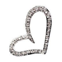 Sterling Silver Elegant Stylish Clear CZ Heart pendant New Love Anniversary d117 - $43.42