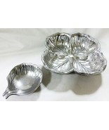 Vintage Wilton pewter salad bowl with dressing well or chip dip bowl signed - $66.33