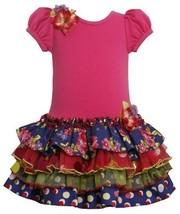 Fuchsia Tiered Mix Print Drop Waist Sparkle Dress FUC2FR,Bonnie Jean Todders ...