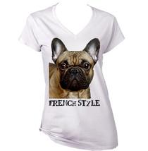 French  Bulldog 2   New  French Style White Cotton Lady Tshirt - $25.75