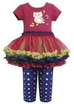 Magenta Blue Owl Applique Tutu Dress / Legging Set MG3SP,Bonnie Jean Little G...