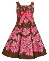 Brown Pink Fit-n-Flare Bow Front Floral Print Dress BR3FV,Bonnie Jean Little ...