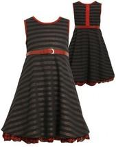 Black Pin-Dot-Stripe Exposed Zipper Back Knit Dress BK3SI,Bonnie Jean Little ...