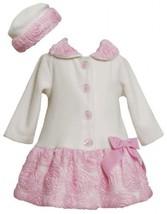 Ivory Pink Bonaz Border and Bow Fleece Coat / Hat Set IV2TW,Bonnie Jean Todde...