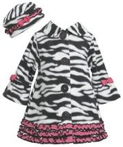 Ruffle Zebra Stripe Bell Sleeve Fleece Coat / Hat Set BW2TW,Bonnie Jean Todde...