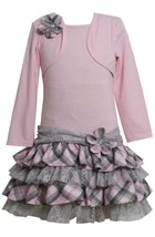 Pink/Grey Tiered Plaid and Lace Mock Twofer Dress PK2TW,Bonnie Jean Todders S...