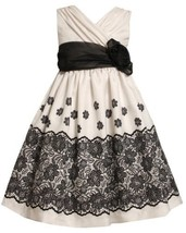 Ivory Black Lace Border Print Crossover Shantung Dress IV3FR,Bonnie Jean Girl...