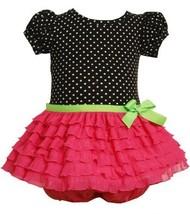 Fuchsia-Pink Black Dotted Glitter Eyelash Ruffles Dress FU1TW,Bonnie Jean Bab...