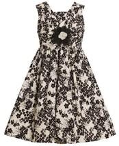 Ivory and Black Floral Print Shirred V-Bodice Dress IV3FV,Bonnie Jean Little ...