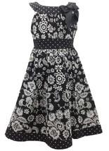 Black White Floral and Dot Print Bow Neckline Dress BW3FR,Bonnie Jean Little ...