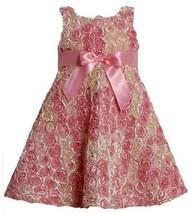 Pink Ombre Metallic Bonaz Rosette A-Line Taffeta Dress PK2TW,Bonnie Jean Todd...