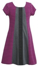 Purple Black Grey Mix Media Colorblock Ponte Knit Dress PU3SX,Bonnie Jean Lit...