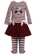 Burgundy-Red Sequin Owl Applique Dress / Legging set BU3FR,Bonnie Jean Little...