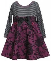 Magenta Black Pull-Thru Ribbon Lace Ponte Knit Dress MG2TW,Bonnie Jean Todder...