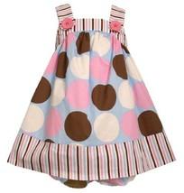 Size-3/6M BNJ-0893-M 2-Piece Pink/Blue/Brown/White Multi Dots and Stripes Wov...