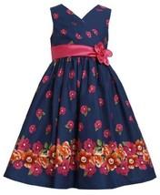 Blue Pink Orange Crossover Floral Border Print Dress NV3SI,Bonnie Jean Little...