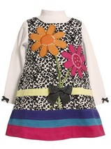 Spotted Sequin Flower Bouquet Corduroy Jumper Dress BW2TW,Bonnie Jean Todders...