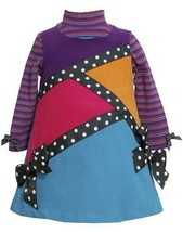Purple Multi Geometric Colorblock Corduroy Jumper DresS PU1HB,Bonnie Jean Bab...