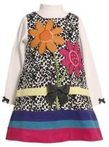 Spotted Sequin Flower Bouquet Corduroy Jumper Dress BW3FR,Bonnie Jean Little ...