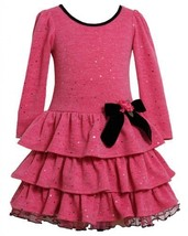 Pink Spangle Dot Fuzzy Knit Tiered Dress PK2TH,Bonnie Jean Todders Special Oc...