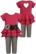 Tiered High-Low Cut Out Heart Dress/Legging Set FU2TH,Bonnie Jean Todders Gir...
