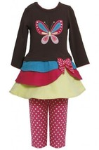 Tiered Colorblock Butterfly Applique Dress/Legging set BR3FR,Bonnie Jean Litt...