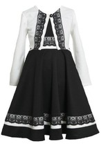 Ivory and Black Lace Trim Knit Dress/Sweater Set IV3FR, Bonnie Jean Little-Gi...