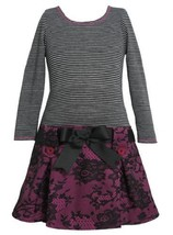 Magenta Lace Print Pull-Thru Ribbon Drop Waist Dress MG3FV,Bonnie Jean Little...