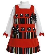 Pull-Thru Ribbon Striped Bands Ponte Knit Jumper Dress RD2TW,Bonnie Jean Todd...