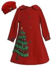 Bonnie Jean Girls 7-16 Red Sequin Holiday Tree Applique Fleece Coat / Hat Set...