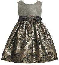 Gold Silver Beaded Waist Metallic Floral Brocade Dress GD2BU Bonnie Jean Todd...