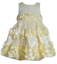Yellow Bonaz Rosette Border Mesh Overlay Dress YL2BU, Yellow, Bonnie Jean Lit...