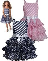Navy-Blue White Sparkle Dot Curvy Wire Chiffon Tier Dress NV3SA, Navy, Bonnie...