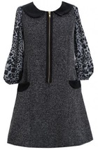 Black Tweed and Pleather Exposed Front Zip Pocket Dress BK4SV,Bonnie Jean Twe...